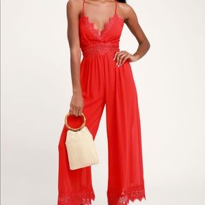 Sunny Day Dream Red Lace Culotte Jumpsuit Lulu's